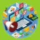 لوگو ، برند ، رد و و بدل و بسته بندی در کسب و کار نوکرتو